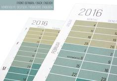 Wandkalender 2016 Planer 2016 Pastell Aqua Türkis Natur von WiLaNo #etsy #etsyfinds