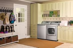 Like the offset shelf above the washer-perfect for a top loader.