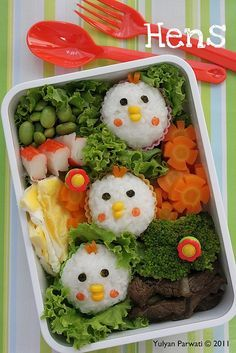 Cooking With Love: My Bento Creation is this cute or what? But will the kids eat it? Lunch Box Bento, Bento Kids, Cute Bento Boxes, Bento Recipes, Baby Food Recipes, Bento Kawaii, Japanese Bento Box, Japanese Food, Boite A Lunch