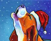Items similar to Beagle Dog Santa - Giclee Print By Corina St. Martin on Etsy