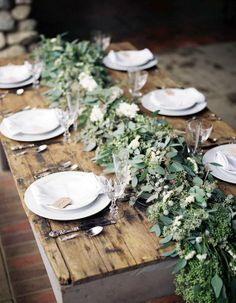 Beautiful, rustic centerpiece and table setting