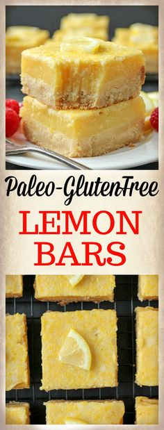 These Paleo Lemon Bars are so full of bright lemon flavor. A simple shortbread crust topped with a creamy, tart lemon filling that is delicious and perfect for spring. They are gluten free, dairy free, and naturally sweetened. #Easter