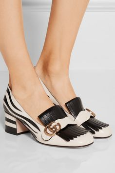 Heel measures approximately 55mm/ 2 inches Ivory and black leather Slip on Made in Italy