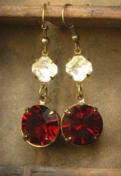 Red Rhinestone Dangle Earrings Garnet Valentine