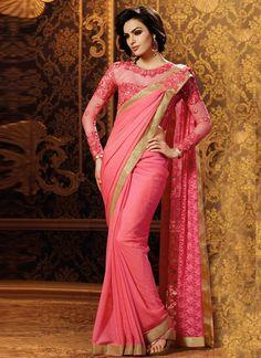 Pink Coloured Embroidered Net Party Wear Saree With Blouse pink color embroidered saree - Pink Things Chiffon Saree, Georgette Sarees, Net Saree, Indische Sarees, Party Kleidung, Conservative Fashion, Stylish Blouse Design, Wedding Sari, Indian Wedding Hairstyles