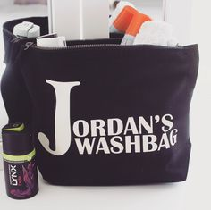 Personalised Large Black Washbag at #jual #personalisedgifts also available in cream  contact olivia@jual.co.uk for more details