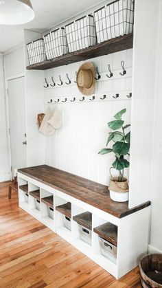 Mudroom storage hack, updated IKEA to storage turned custom entry storage – Mudroom Entryway Home Renovation, Home Remodeling, Kitchen Remodeling, Cheap Home Decor, Diy Home Decor, Mudroom Laundry Room, Mud Room Lockers, Closet To Mudroom, Entry Closet