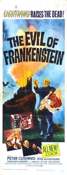 """Movie Poster for the Hammer horror film """"The Evil of Frankenstein"""" (1964), directed by Freddie Francis and starring Peter Cushing as the titular mad scientist. A film distribution deal allowed for a monster and sets that more closely resemble the Universal version starring Boris Karloff."""