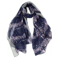 """B19 Navy Blue Gray City Street Architecture Scarf ‼️PRICE FIRM‼️   City Street Scarf Really fun. Versatile navy blue & gray color. 100% viscose. 38"""" wide, 74"""" long. Please check my closet for many more items including designer clothing, jewelry, shoes, handbags & much more. Boutique Accessories Scarves & Wraps"""