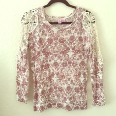 Nordstrom Rack Sweater Small, designed, partly lace sleeved, long sleeves, not a heavy sweater, only wore 1 time! love on a hanger Sweaters Crew & Scoop Necks