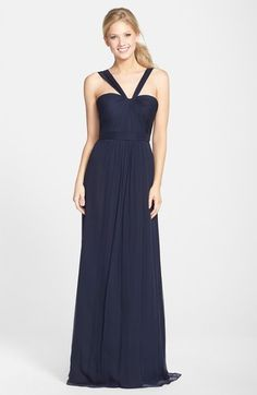 Mismatched Bridesmaid Dresses in Navy Blue. Navy blue mismatched bridesmaid dresses in short and long styles. Ideas for how to mix and match bridesmaid dresses in blue.