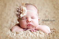 Baby Headband - Infant headband - baby girl headband - flower  headband- Photography prop -babies infants toddlers - skinny headband. $15.00, via Etsy.