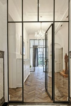 See more glass door ideas, Home ideas and Barn doors Industrial chic barn style sliding doors with rippled glass panes allow privacy but still allow Interior Architecture, Interior And Exterior, Interior Design, Interior Door, Planchers En Chevrons, Casa Petra, Door Dividers, Steel Doors And Windows, Internal Doors