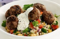 Mediterranean Meatballs with Couscous, Chickpeas & Herb Salad | power hungry