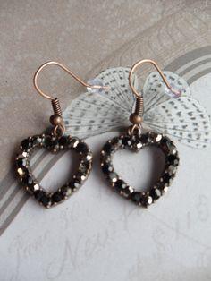 Vintage Heart Rhinestone Earrings by Charsfavoritethings on Etsy, $10.00
