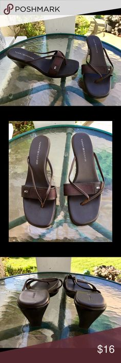 "Tommy Hilfiger Martina Leather Wedge Thong Shoes Brown leather upper; balance man made. Slip-on 2 7/8"" wedge heels. Thong style. In between a shoe and a sandal. Nice quality. Great condition! 🌟 Tommy Hilfiger Shoes Wedges"