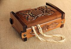 Large Wood Jewelry Box, Antique Box, Wood Carved Jewelry Chest, Keepsake Wooden Treasury Box, Rustic Wooden Jewelry Box, Unique Gift for Her $48,00 USD