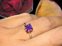 Natural Amethyst Ring February Birthstone Ring Sterling