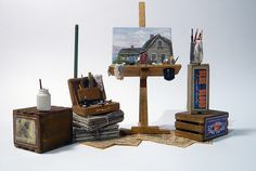Art Studio by Marquis Miniatures. Miniature Crafts, Miniature Houses, Miniature Dolls, Dolls House Shop, Doll Houses, Artist Supplies, Mini Things, Miniature Furniture, Miniture Things