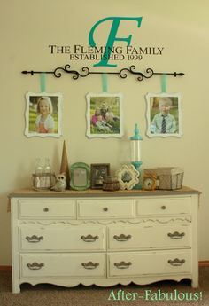 Hang picture frames from a rod! Wall make-over!