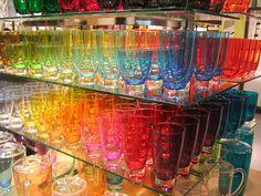 Rainbow of glasses.