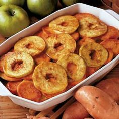 Sweet Potatoes with Apples  Here is a delicious dessert/side to try. This was made without the orange juice and with cinnamon, splenda, and a dash of vanilla extract. Great reviews from the table! #SkinnyGene