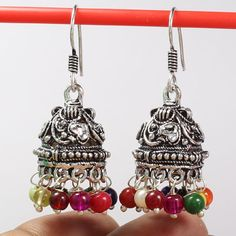 Trendy MULTI COLOR GLASS Beads 925 Sterling Silver Plated Jhumki Earrings India #Unbranded #DropDangle