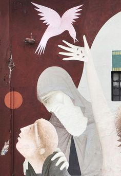 detail of mural 'NOMADS' (21x5 meters) by Greek artist Φίκος in Queretaro, Mexico