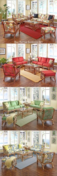 Upscale Bali rattan furniture set is a refreshing rendering of South Seas Island mystique that presents an exotic view from every angle. Bali Furniture, Rattan Furniture Set, Furniture Sets, South Seas, Backyard Patio, Sunroom, Valance Curtains, Exotic, Hobbies