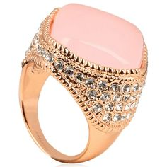 Passione Rosa Opale - Luxury Large Pink Opal & CZ Diamond  Rose Gold Cocktail Ring