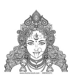 stock-vector-indian-hindi-goddess-kali-vector-illustration-396503371.jpg (450×470)