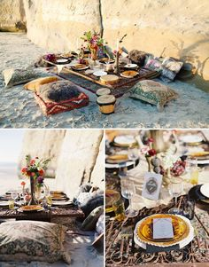 beach wedding with throw pillows in the sand