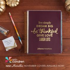 The #ECLifePlanner in our new metallic #Thankful quote cover! I just ordered this Thanksgiving interchangeable cover early yesterday! Cannot wait to receive it in the mail!