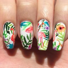 tropical flamingo nails nail art