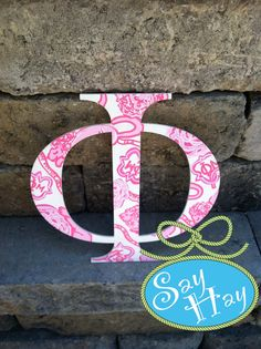 #Phi #Greek Letter painted in #phi #mu #Lilly #sorority print!