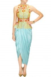 Sky blue embroidered peplum jacket with blue dhoti wrap skirt