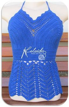 Celeida Artes em Fios: Cropped de crochê azul!!