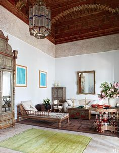Chilean artist Claudio Bravo's former studio—with its custom-made Andalusian-style plaster frieze and richly inlaid Syrian furniture—is a highlight of the 18th-century Marrakech riad that was once his home.