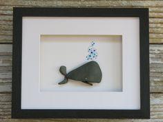 Pebble and Sea Glass Art Whale by Maine Artist M. Sea Glass Crafts, Sea Glass Art, Stained Glass Art, Fused Glass, Stone Crafts, Rock Crafts, Beach Rock Art, L'art Du Vitrail, Art Encadrée