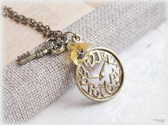 Clock necklace key charm vintage style jewelry by MacKenziesAttic, $10.00