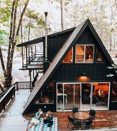 Tiny House Cabin, Tiny House Design, Cabin Homes, Tiny Homes, Log Homes, Cabins In The Woods, House In The Woods, House On A Hill, A Frame House Plans