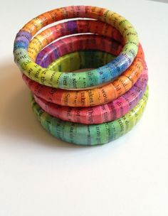 ON SALE Recycled Paper Bracelet - Chuck Palahniuk Invisible Monsters - Green Yellow & Blue- Ecofriendly Paper Bracelet, Paper Jewelry, Paper Beads, Jewelry Crafts, Recycled Jewelry, Handmade Jewelry, Recycled Bracelets, Recycled Books, Diy Paper
