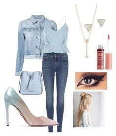 """""""Blue babe"""" by aliciawiseman on Polyvore featuring 3x1, 7 For All Mankind, River Island, Prada, EF Collection, Adina Reyter, Armani Jeans and Charlotte Russe"""