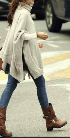 Great outfit due to stunning Winter Days Cream Ivory Knit Turtleneck Boho Poncho Sweater OS Fall Winter Outfits, Autumn Winter Fashion, Winter Style, Winter Wear, Spring Outfits, Mode Outfits, Casual Outfits, Outfits 2016, Hippie Mode