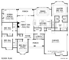 2453 sq ft: 4/3. One level with 454 sf bonus up. First Floor Plan of The Peyton - House Plan Number 1289
