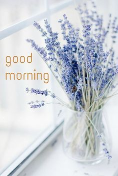 Good Morning Card with Lavander Flowers
