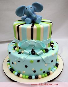 CHILDREN'S ELEPHANT CAKE by Pink Cake Box in Denville, NJ.  The cake flavors include chocolate cake with chocolate filling and vanilla cake with cannoli filling.  More photos and videos at http://blog.pinkcakebox.com/children-elephant-cake-2006-03-25.htm
