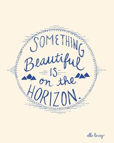 Something Beautiful is on the Horizon in Blue  Art by ellolovey, $19.00