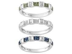 .75ctw Blue Velvet Diamond(Tm) White & Green Diamond Rhodium Over Silver Ring Set Of 3