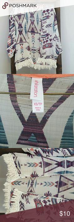 Xhilaration XS cardigan/ cover up Tribal print cover up with fringe bottom Xhilaration Tops